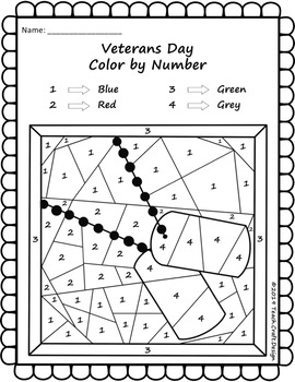Veterans Day Color by Number Worksheets by Teach Craft ...
