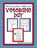 Veterans Day ~ Color by Number and Sight Words