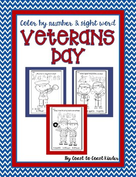 Veterans Day Color by Number and Sight Words