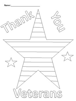Veterans Day Coloring Activity