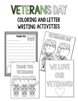 Veterans Day Coloring and Thank You Letters