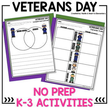 Veterans Day: Compare/Contrast, Character Traits, and Writing Prompts (NO PREP)