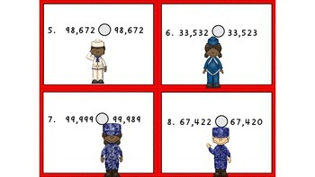 Veteran's Day - Comparing whole numbers