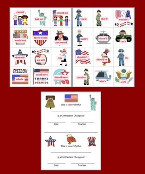 Veterans' Day Activities: Contractions - 4 Different Sets - 48 Pairs!