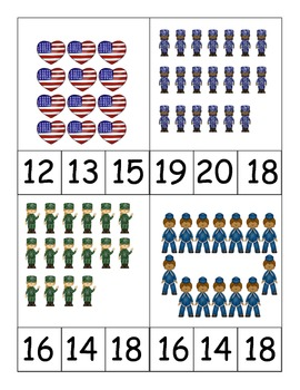 Veterans Day Counting Numbers to 20