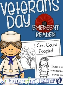Veterans Day 'I Can Count Poppies!' Emergent Reader