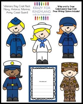 Veterans Day Craft & Writing Bundle: Army, Navy, Coast Guard, Marine, Air Force