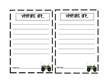 Veterans Day Craftivity and Literacy Activities