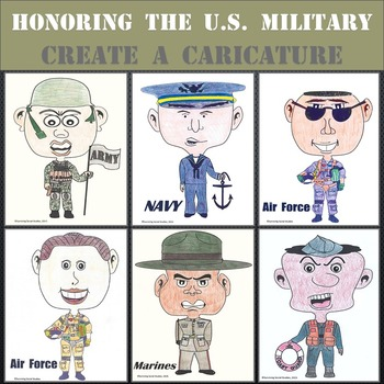 U.S. Military Caricatures - Army, Navy, Air Force, Marines, & Coast Guard