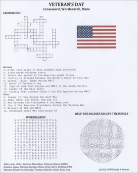 Veteran's Day Crossword Wordsearch Maze