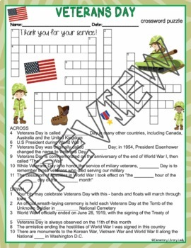Veterans Day Activities Crossword Puzzle and Word Search Find