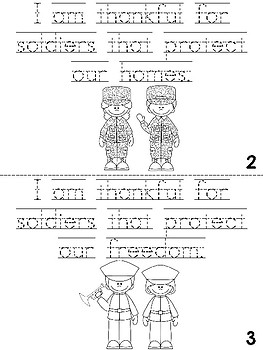 Veteran's Day Cut, Trace and Color Printable Book