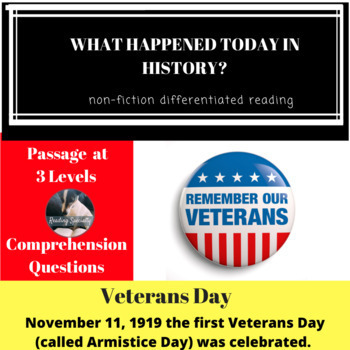 Veterans Day Differentiated Reading Passage November 11