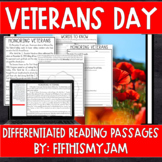 Veterans Day Differentiated Reading Passages   Distance Learning