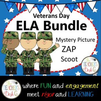 Veterans Day ELA Bundle: Parts of Speech, Sentence Fragments, Types of Sentences
