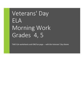 Veterans' Day ELA Morning Work: Context Clues and a Fun page. Grades 4/5