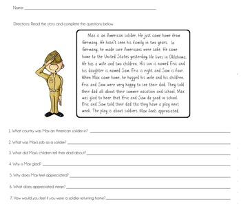 Veterans Day ELA/Math Packet