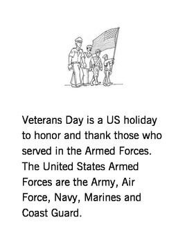 Veterans Day Early Learner Booklet