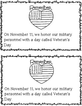 Veteran's Day Emergent Reader