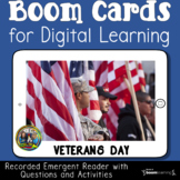 Veterans Day Emergent Reader Boom Cards for First Grade  