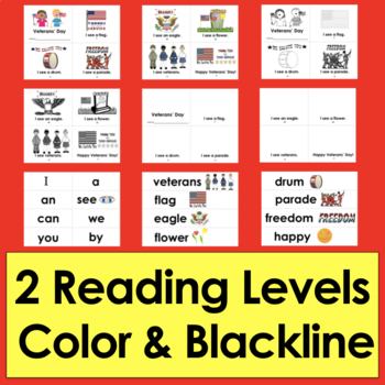 Veterans' Day Activities:  Readers 2 Levels Plus Illustrated Pocket Chart Cards