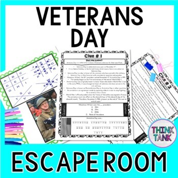 Veterans Day Escape Room - Holiday Activity- November