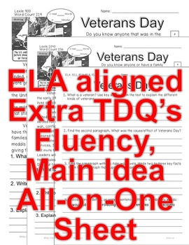 Veterans Day FACTS Main Idea Informational Text Close Read 5 level passages