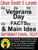 Veterans Day CLOSE READING 5 LEVELED PASSAGES Main Idea Fluency Check TDQs!!!