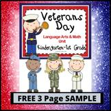 Veterans Day FREBBIE for Kindergarten and 1st Grade