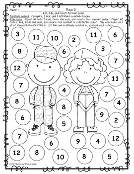 Veterans Day FREEBIE Math Game for Partners ~ No Prep