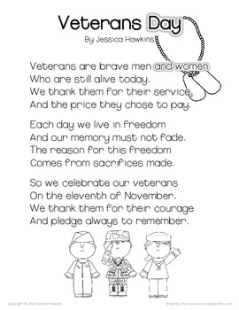 Veterans Day Freebie Pack Original Poem Emergent Reader