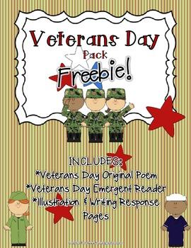 Veterans Day FREEBIE Pack! (Original Poem, Emergent Reader