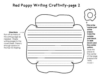 Veterans Day Fact Book, Adjectives Book, and Writing Poppy Craftivity