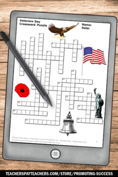 Veterans Day Crossword Puzzle And Writing Papers