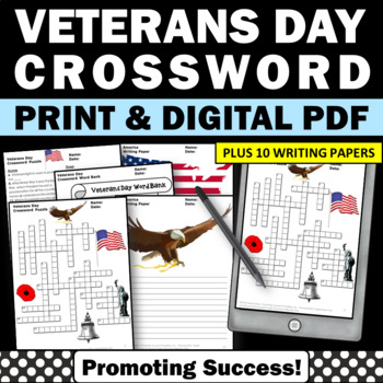 Veterans Day Activities, Crossword Puzzle, Veterans Day Writing Papers