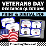 Veterans Day Activities, Social Studies Task Cards