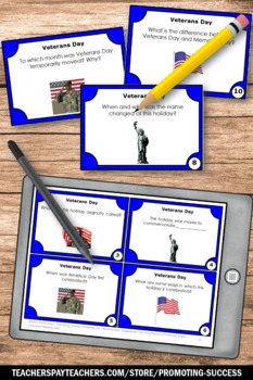 Veterans Day Task Cards, Research Questions for Games and Activities