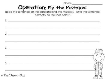Veterans Day Fix the Mistakes Grammar Activity