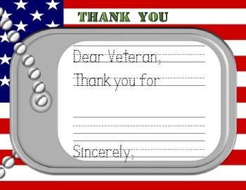 Veteran's Day Flashcards and Letter
