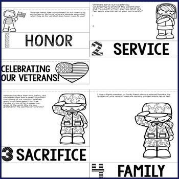 Veterans Day Flip Book - Elementary School - School Counseling