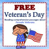 Veterans Day- female veterans reading comprehension passages.