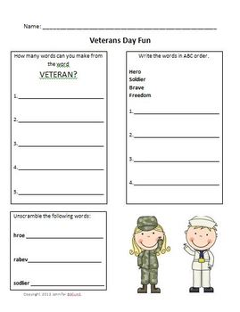 Veterans Day Fun Worksheet ABC Order, Scramble