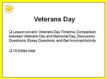 Veterans Day Grades 6, 7, 8 PowerPoint Lesson