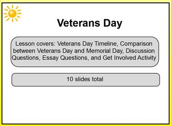 Veterans Day Grades 6, 7, 8 Promethean ActivInspire Lesson