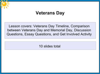 Veterans Day Grades 6, 7, 8 SMART Notebook Lesson