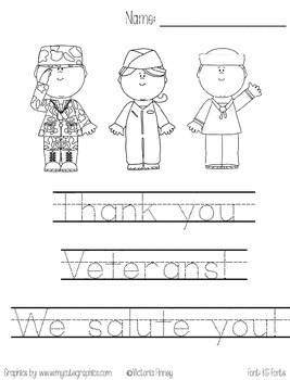 Veteran's Day Handwriting Practice