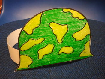 Veterans Day Hat pattern Paper Plate Soldier and Writing Activity C-scope CC