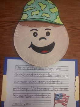 Veterans Day Hat pattern Paper Plate Soldier and Writing Activity