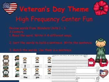 Veterans Day High Frequency Center Fun! Wonders Unit 1-3