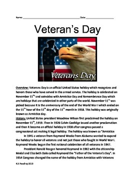 Veterans Day - History Review Article Activities vocabular